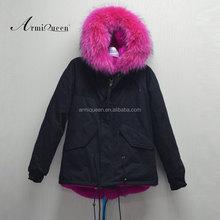 Fashion warm faux fur lining with real fur collar women hood black jacket rose pink fur lining coats