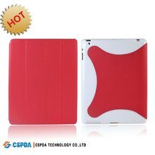 Stand leather case with back hard shell for new ipad 3