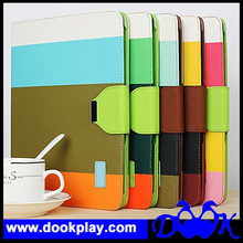 Multi-Color Striped Cover Case for iPad Air --- With Card Wallet
