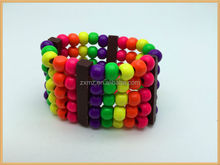 wholesale fashion jewelry shiny wood beads bangles layered fluorescence color