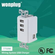 Superior más verde cargador USB con 3.1A sabotaje resistente receptáculo WP-7750W