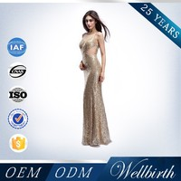 2015 Malaysia Online Shopping With Sequine Gold Evening Dress Mermaid