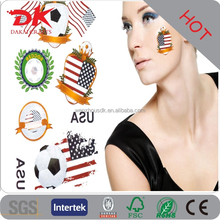 Personalized temporary paper transfer Football celebrating washable flag face sticker