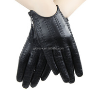 fashion short black wearing leather glove driving leather glove sex ladies leather gloves