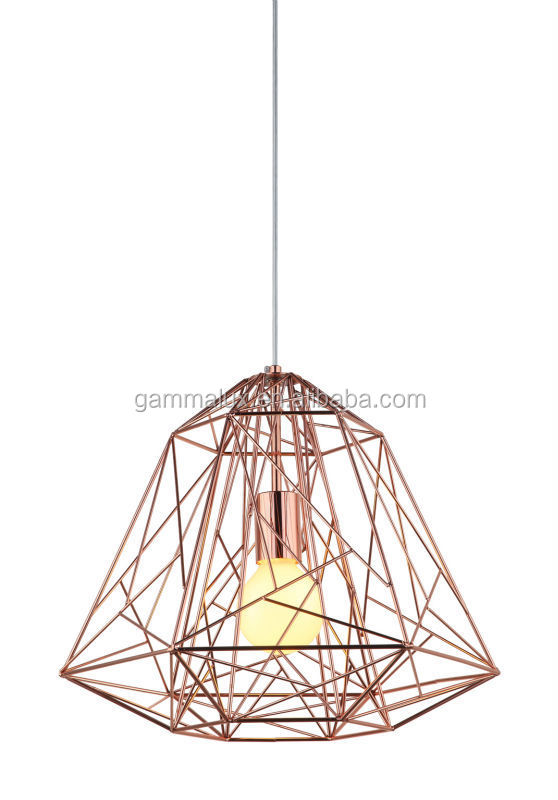 New Design Diamond Shaped Cage Copper Lamp Shade - Buy Hanging Lamp ...