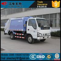 Export truck model of ISUZU 5m3 compactor garbage truck