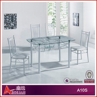A10S Fashionable wooden dining table with glass top designs