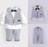kids boys three piece gental suit with bow tie cotton boy dress suit