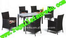 Rlf-tdh-015 7 piezas de jardín de acero cubierta de honda de comedor mesa y una silla conjunto