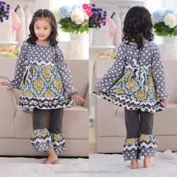 2015 baby girls long sleeve yellow& gray damask polk dot top and ruffle pants sets,giggle moon remake outfits