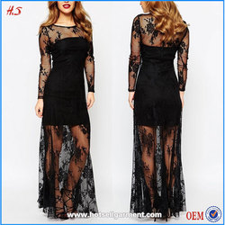 2015 top sales good quality pretty clothes black floral lace long sleeve maxi dress ladies long evening party wear evening gown