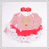 2 Pieces Clothes 2015 For Girl Baby Romper Christmas Baby Bodysuit Long Sleeve With Headband