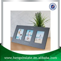 Factory Direct Price 54*27cm Handmade Decorative Customized Laser Design Natural Slate Triple Family Photo Frame