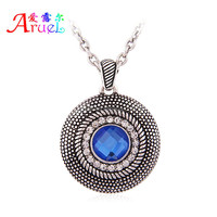 Hot sell High quality sky blue glass stone round shape ancient silver pendant necklace for woman Wholesale Jewelry have spot