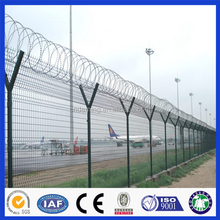 DM triangle bending welded airport fence with Y post, pvc coated chain link mesh airport fence