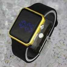 Alibaba express hot selling high quality korea stlye blue led watch silicone band for men women