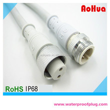 2 pin Metal Male Female M16 Waterproof Wire Connector With White