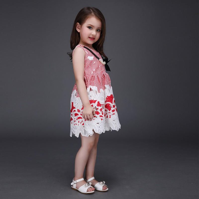 En gros D'été Fille Robe Coréenne Style Enfants Robes Sans Manches Enfants Vêtements L-115