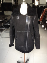 2015 man's hottest sheep leather and fur black jacket