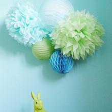 DIY Craft Hanging Paper Honeycomb Ball cream green and red Wedding Decor