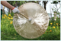 """Golden Surface 32"""" MK-Wind Gong with Mallet,Traditional Chinese Handcraft Feng Gong"""