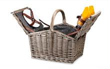 Deluxe Antique Wash 4 Person Wicker Picnic Basket Wire Basket