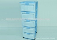 5 layers plastic drawer with wheel