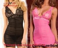2015 Satin women gift Sexy lingerie Hot vintage nightwear sleepwear nightie negligee nightgown,2 Colors Sexy Costume Baby Dolls