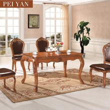 Cheap dining table and 6 chairs wooden dining table and chairs European style