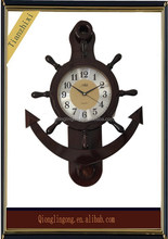 Marine quartz wooden wall clock