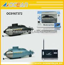 Caliente 6ch rc mini submarino manía del rc juguetes( gris/negro)