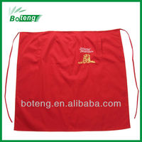red cotton restaurant apron uniform with embroidery logo