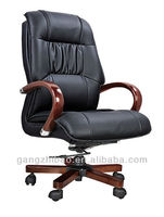 High qaulity big boss Guenine leather office chair/luxury wooden arms executive swivel office chair AB-014B