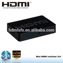 Hot arrival !!! Mini hdmi 301 switch Output 3D video via remote control or button