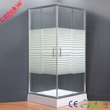 bathroom curved stripe glass square shower enclosure made in hangzhou