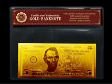 Custom Gold Plated Gift American 5 Dollors 24k Plated Gold Banknote COA For Value Collection