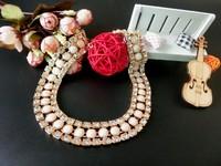 2015 hot sexy ladies fashion temperament diamond pearl necklace