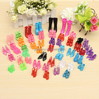 60 Pairs Trendy Mix Assorted Doll Shoes Multiple Styles Heels Sandals For Barbie Dolls