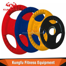 Tri-grip color bumper plate weights