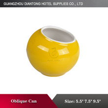 2015 heat resistant ceramic special shape yellow and white oblique can