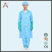 Blue white TC anti-static lab coat surgical gown for pharmacy,nurse ,lab