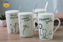 Factory Prices Logo printing Starbucks Ceramic porcelain coffee mug with lid