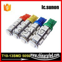 Different colors 13SMD 5050 T10 car LED