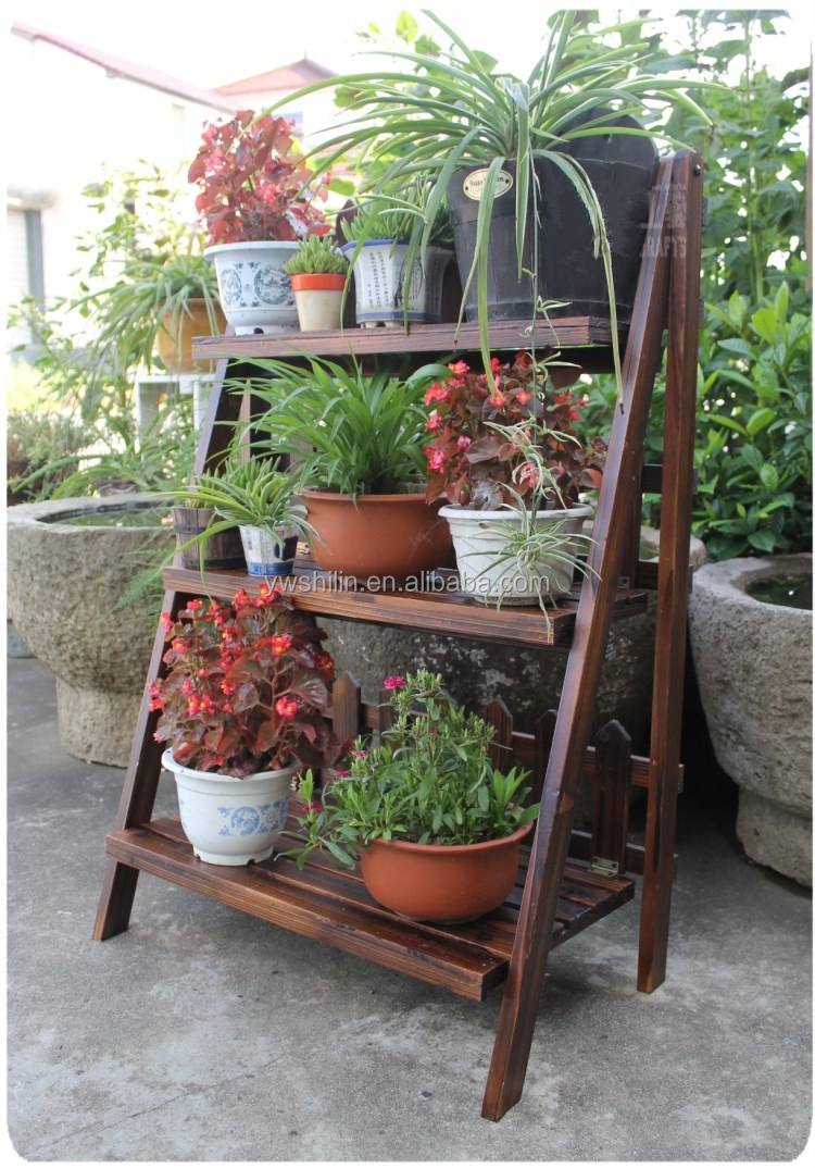 Flower Stand Designs : New design handmake folding wooden garden flower pot