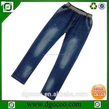 desigh nuevo lavado de mezclilla pantalones de cintura alta escuela de moda boy pantalones vaqueros de cintura elástica