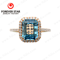2015 Hot Sale New Product Blue Topaz Nature Stone 18ct Light Weight Gold Jewellery Designs Photos