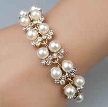 2015 fashion 2 wraps cheap wholesale fake pearl bracelet for women