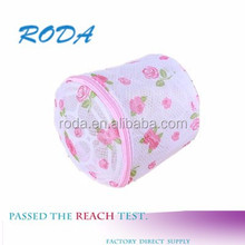 convenient breathable bra floral print cylinder polyester mesh washing bag for women