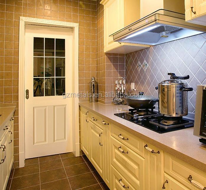 Pvc wood grain color glass kitchen cabinet door buy used for Wood grain kitchen doors