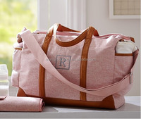 Crib cotton canvas leather pashmy mummy Diaper Bag